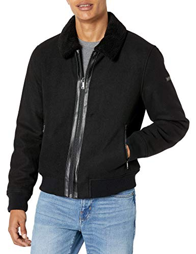 DKNY Men's Wool Blend Bomber Jacket with Sherpa Collar, Black, XX-Large
