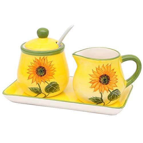 Dekohelden24 Dolomite Zuccheriera con cucchiaio, bricco per il latte e piastra, set da 3 pezzi, motivo: girasole giallo/verde, dimensioni circa 19 x 10,5 cm.