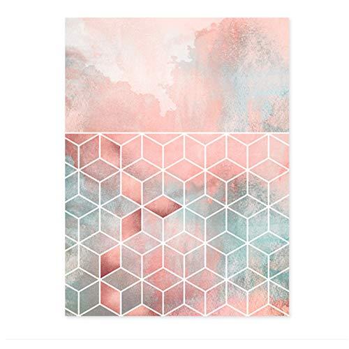 Canvas Prints Moderne Roze Geometrische Abstracte Vorm Schilderijen Poster Muur Foto Woonkamer Home Decor 60x80 cm / 23.6
