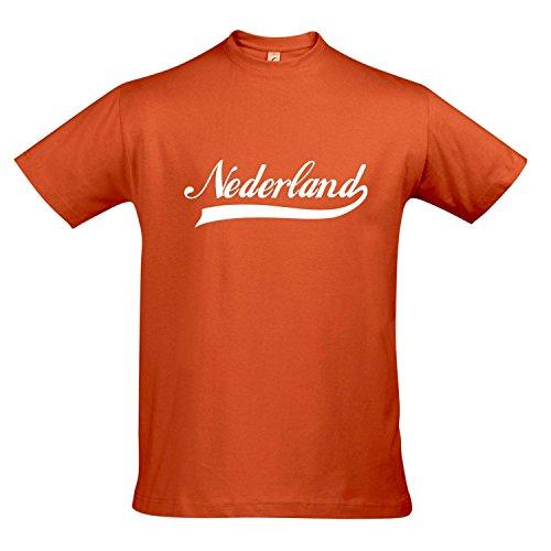 T-Shirt Nederland Oldschool Holland Oranje LÄNDERSHIRT EM/WM Fan Trikot S-XXL, Orange - weiß, M