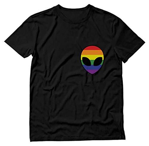 Tstars - Gay Alien Head UFO Rainbow Flag Gay Pride T-Shirt Medium Black