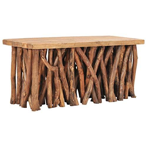 Tidyard Couchtisch Massivholztisch Esstisch Baumstamm Beistelltisch Wohnzimmertisch 100x40x47,5 cm,Kaffeetisch Sofatisch Teetisch Holztisch,Teakholz-Äste,Recyceltes Massivholz und Teak