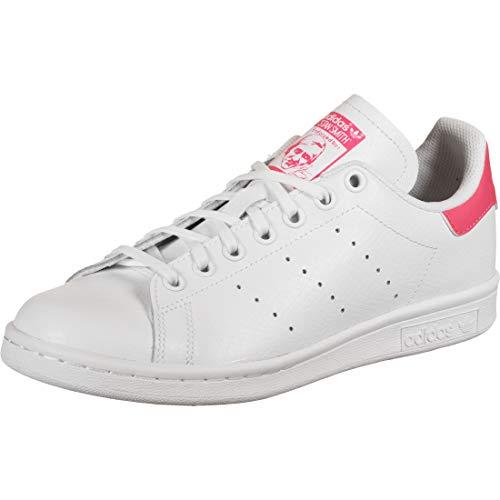 adidas Stan Smith J, Scarpe da Ginnastica, Ftwr White/Ftwr White/Real Pink S18, 37 1/3 EU