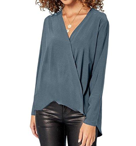 Aooword-women clothes Blusa con cuello en v top gasa manga larga asimetria...