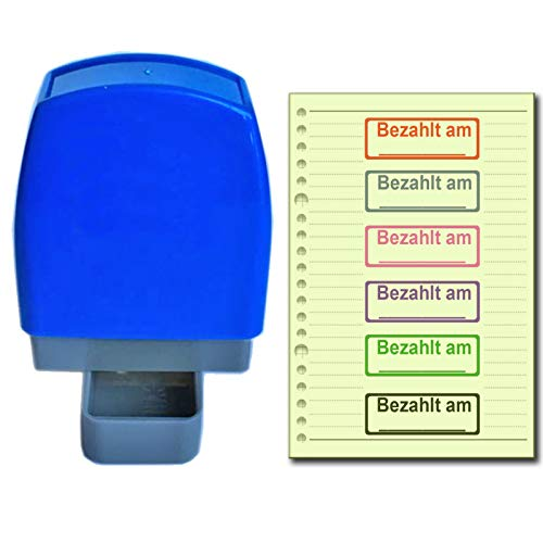 SSEELL Bezahlt am_ Selbstfärbender Stempel Selbstfärbende Vor-inked Re-inkable Büroarbeit Schule Office selbstfärbend Firmen stempel Stationäre Briefmarken Mit Rahmen Linie - Rote Tintenfarbe