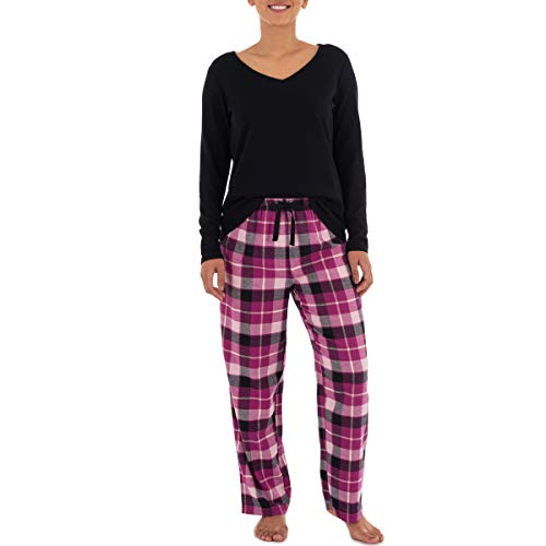 Fruit of the Loom Women's Waffle V-Neck Top and Flannel Pant Sleep Set, Black/Buffalo Plaid, Large