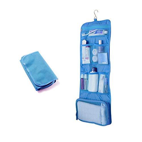 Sacs de Toilette Suspendus Sac de Rangement pour Bijoux de Voyage Organisateur cosmétique pour Femmes Filles avec Poches (Bleu)