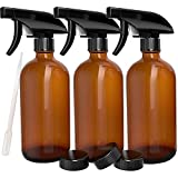 3 Pack - Refillable Empty Amber Glass Spray Bottles 16 OZ. for Cleaning Solutions, Hair, Essential Oils, Plants - Trigger Sprayer with Mist and Single Mode
