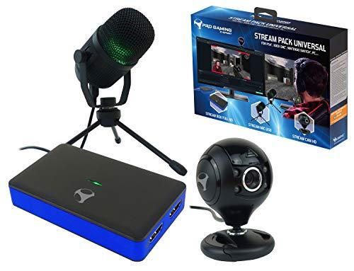 Subsonic - Pack d'accessoires pour gamers et youtubers Stream Pack avec boitier de capture vidéo Full HD, micro cardioide et caméra HD - PS4 Slim / Pro - Xbox One - Xbox One / X - Nintendo Switch - PC
