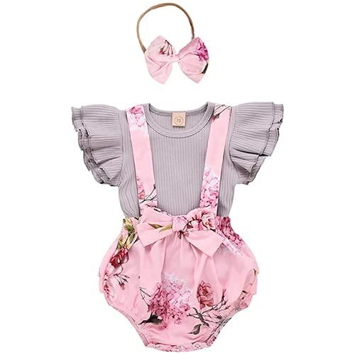 Traje de beb Neonaton Ropa Set Camiseta Ropa Capucha Cubierta Nio Conjunto Pantalones Floral Pantalones con Diadema