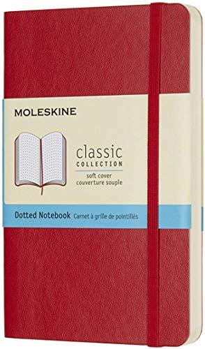 Moleskine Classic Notebook, Taccuino con Pagine Puntinate, Copertina Morbida e Chiusura ad Elastico, Formato Pocket 9 x 14 cm, Colore Rosso Scarlatto, 192 Pagine