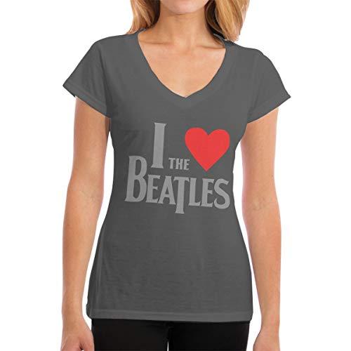 Damen I Love The Beatles Logo Bekleidung T-Shirt Kurzarm Deep Heather L Tee T Shirt V-Ausschnitt Sommer Tshirt Für Frauen