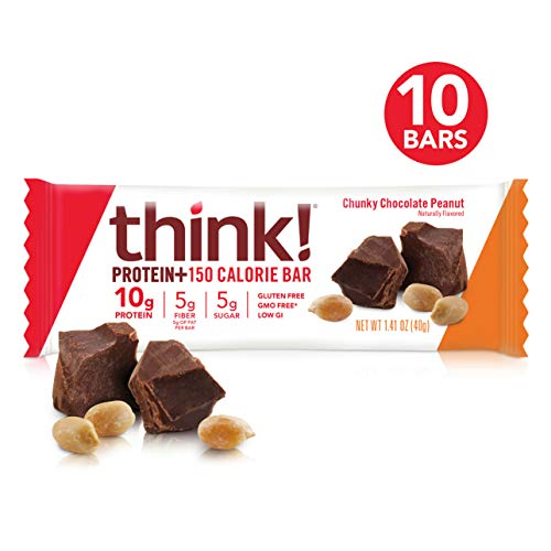 think! (thinkThin) Protein+ 150 Calorie Bars - Chunky Chocolate Peanut, 10g Protein, 5g Sugar, No Artificial Sweeteners**, Gluten Free, GMO Free*, 1.4 oz bar (10 Count - Packaging May Vary)