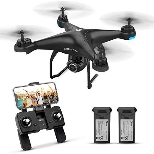 Holy Stone ドローン GPS搭載 カメラ付き 200g以下 最大飛行時間32分 バッテリー2個付き 1080P 広角HDカメラ フォローミーモード オートリターンモード モード1/2転換可能 FPVリアルタイム 高度維持 プロペラガードなし 国内認証済み 充電器付き HS120D