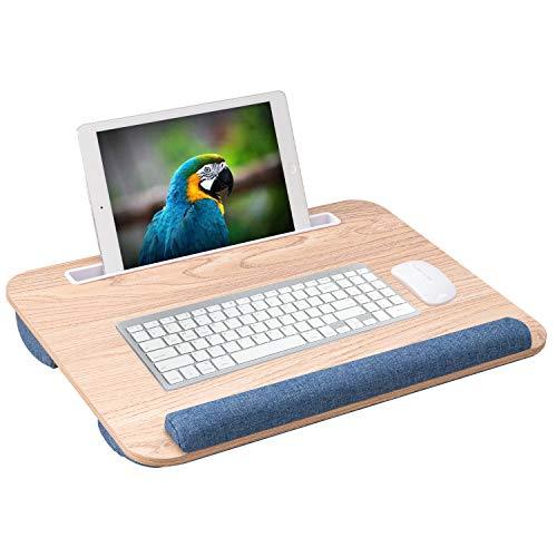 Rentliv 膝上テーブル、ノートパソコンひざ上タブレット クッション付きとてくびパット付き膝上テーブル、便利なスタンド付きので、タブレット 携帯電話またはペンを簡単に使用できます ソファーやベッドの上で、操作できます