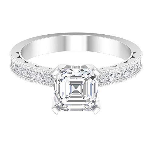 Anillo solitario de corte Asscher de 7 mm, D-VSSI Moissanita corte princesa anillo oro milgrain 14K oro blanco blanco