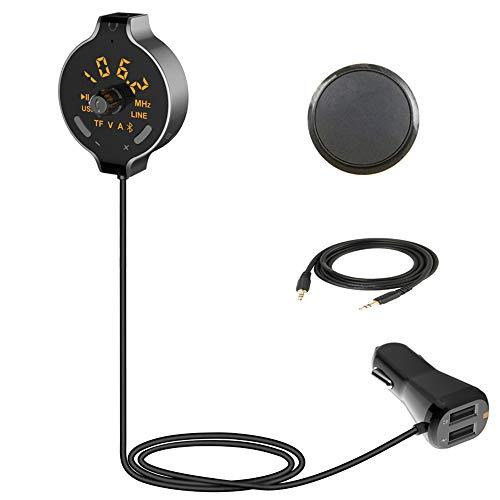 Clydekaoy auto-zender MP3-speler, muziekspeler, Bluetooth, rond display, digitale buizen, handsfree, dubbele USB-aansluiting, maximaal uitgangsvermogen 3,1 A