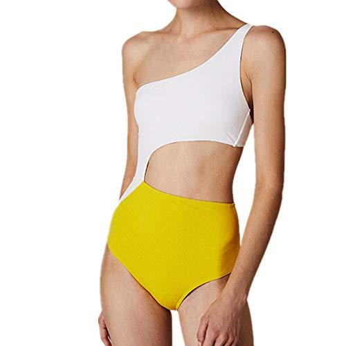 N\P Bañador con un solo hombro. blanco y amarillo M
