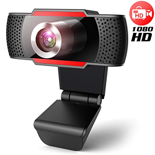 Webcam 1080P Full HD with microphone,JOYACCESS USB Computer Camera Compatible with Mac PC Laptop Tablet. Multi-Compatible, for Computer Windows Video Conferencing, Recording, and Streaming (Black Red)