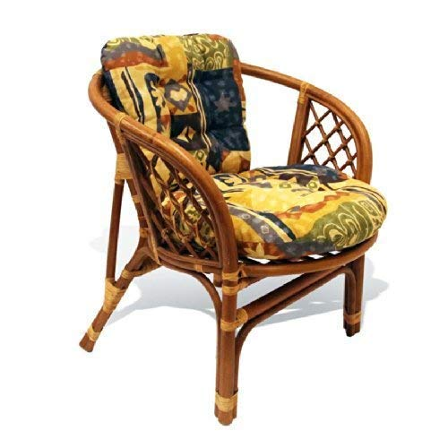 Lounge Bahama Natural Rattan Armchair with Cushion Handmade Design Tropical Style, Cognac