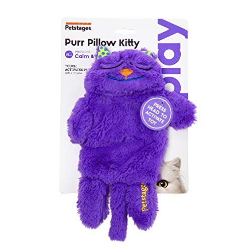 Petstages Purr Pillow Cat Toy For Nightime Play and Calm Comfort Featuring Soothing Noisemaker Soft Plush Material