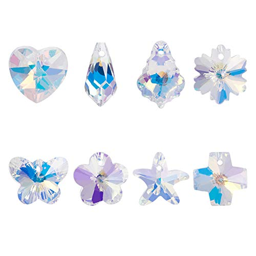 PH PandaHall 32 pcs 8 Shapes K9 Glass Crystal AB Loose Beads Pendant Crystal Gemstone, Heart/Flower/Leaf/Butterfly/Cross/Starfish/Drop Pendants Charms Loose Bead for Bracelets Necklace Jewelry Making