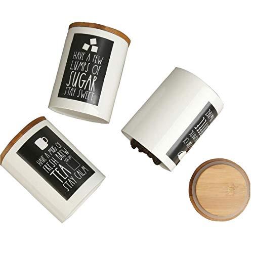 Nicedier Tarro del almacenaje del alimento, Tarro de cerámica de Almacenamiento de Alimentos con Tapa hermética portátil Rubberwood, Jar Cocina contenedor de Almacenamiento Pot 17.5 oz (500 ml) 3PCS
