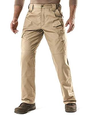 CQR Men's Tactical Pants, Water Repellent Ripstop Cargo Pants, Lightweight EDC Hiking Work Pants, Outdoor Apparel, Duratex Mag Pocket(tlp107) - Khaki, 34W x 32L