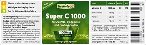 Greenfood Super C, 1000mg Vitamin C, mit Acerola, Bioflavonoiden, 120 Tabletten - 2