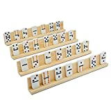 Juvale Domino Trays - 4-Pack Wood Domino Racks, Domino Holders for Domino Tiles, Mexican Train, Mahjong, Chicken Foot, Games, for Kids Seniors Adults Professional Players, 13.4 x 2 x 1.2 Inches