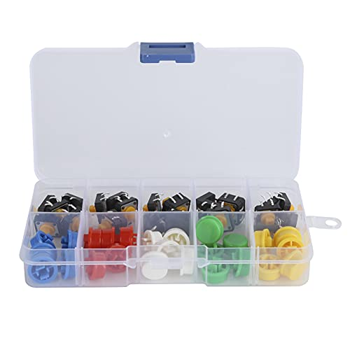 fasient1 Interruptor de botón táctil táctil de 25 Piezas, microinterruptor de 12 x 12 x 7,3 mm con Tapa Redonda, 5 Colores, Kit de Surtido de Teclas táctiles momentáneas, Proyecto de Bricolaje