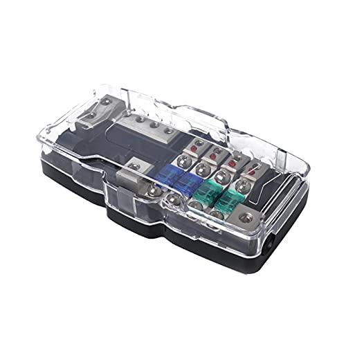 Yuquanxin ANS EN Linea Fuse Coche Stereo Audio Bloque 2X 0 / 2GA EN 4X 4 / 8GA out Durable (Color : Black)