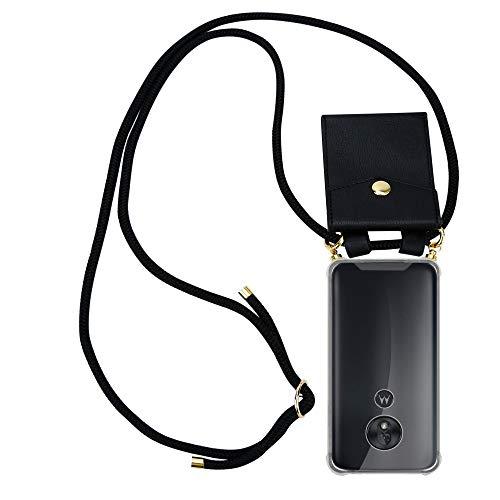Cadorabo Handy Kette für Motorola Moto G7 Play in SCHWARZ - Silikon Necklace Umhänge Hülle mit Gold Ringen, Kordel Band Schnur und abnehmbarem Etui – Schutzhülle