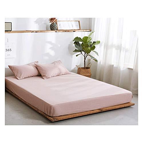MZP Sábana Bajera Ajustable elástica 100% algodón ultrasuave para una Cama 120/150/180cm Double Fitted Bed Sheets Profundidad 25cm (Color : Pink Grid B, Size : 120×200cm)
