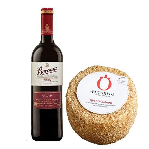 Pack de Vino tinto Beronia Crianza y Queso Curado Emborrado Pasteurizado - Vino de 75 cl y Queso de 850 g aprox - Mezclanza