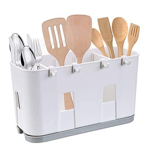 Soporte para estante de secado de cubiertos, Caja de almacenamiento para fregadero, Porta utensilios, Para utensilios de cocina, Rejilla de almacenamiento multifuncional con bandeja de goteo