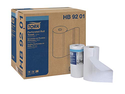"""Tork HB9201 Handi-Size Perforated Roll Towel, 2-Ply, 11"""" W x 6 3/4"""" L, 120 Per Roll, White (Case of 30 Rolls)"""