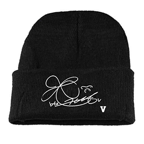 ZNZ Strickmütze Winter Gerippt Bts Signatur Buchstaben Gedruckt Cuffed Beanie Cap Hip Hop Fans Geschenk Unisex Mode ZNZ/G. / V