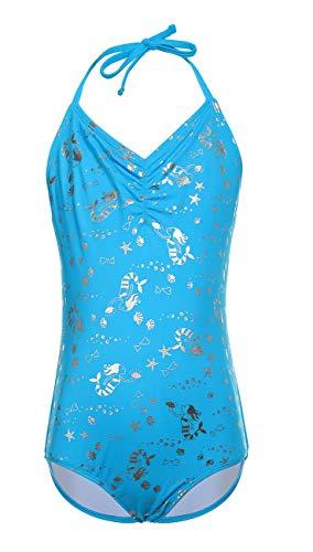 DUSISHIDAN Bademode für Kinder Mädchen, Einteiliger Hängender Hals Badeanzug Sommer Bikini Blaue Meerjungfrau M