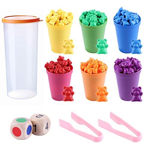 MYCeator - Juego de 71 osos de conteo de arco iris con vasos de clasificación y pinzas a juego, juego Montessori Rainbow - Juguetes educativos para niños y bebés
