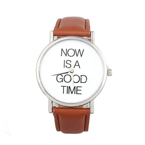 Keepwin Damen Beiläufig Uhren Now is A Good TIME Brief Einfach Armbanduhr Klassisch PU Lederband Analoge Quarzuhr Für Frauen (Brown)