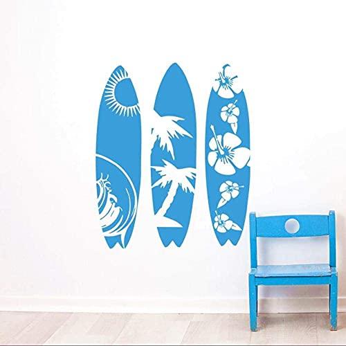 Deportes Marinos Tatuajes De Pared Tabla De Surf Pegatinas De Pared Ola Mar Playa Arte De La Pared Mural Creativo Tres Calcomanías De Estilo De Tabla De Surf 57 * 69 Cm