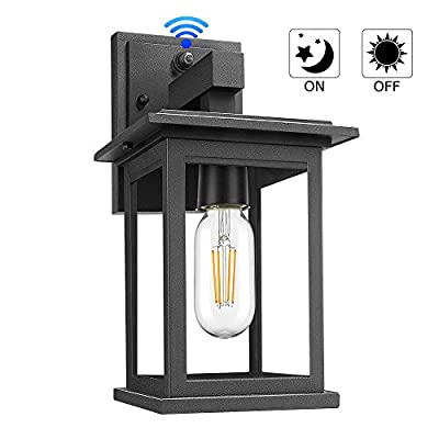 Upgrade Dusk to Dawn Sensor Outdoor Wall Lanterns, Exterior Wall Sconce Porch Light Fixture with E26 Socket, 100% Anti-Rust Waterproof Matte Black Wall Mount Lamp with Clear Glass for Entryway Garage
