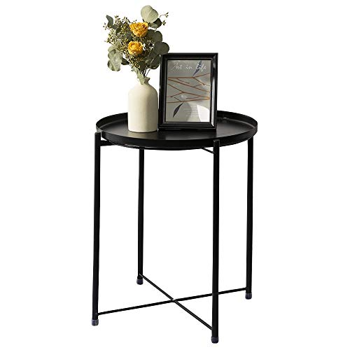 danpinera Tray Metal End Table, Small Round Side Table Sofa Side Table Round Metal Nightstand, Outdoor Side Table Indoor Snack Table Accent Coffee Table Anti-Rust and Waterproof Black