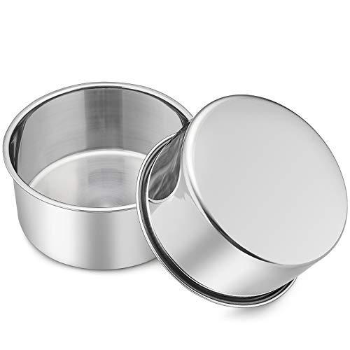 2 Pcs 6 Inch Deep Cake Pan Set, P&P CHEF 6'' x 2.95'' Stainless Steel Round Baking Pans, for Birthday Wedding Christmas, Non Toxic & Healthy, One-piece Molding & Deep Side, Oven & Dishwasher Safe
