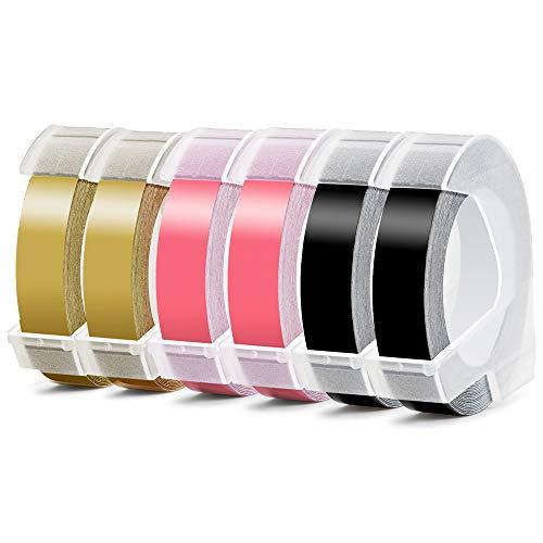 Aken kompatible Prägeband als Ersatz für Dymo 3D Prägebändern Vinyl Geprägtes Etikettenband 9mm für Dymo Omega Junior Embosser,Motex E101 Embosser, Oldschool Label Maker, Weiß auf Schwarz/Gold/Rosa 6X