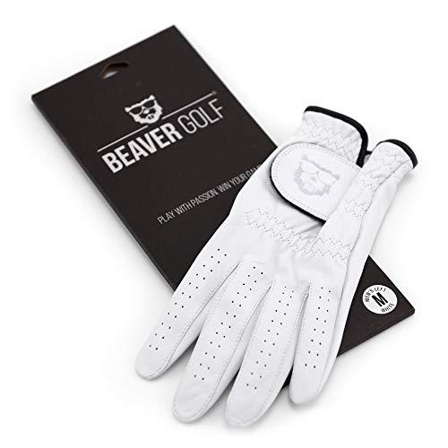 BEAVER GOLF Herren Golf Handschuh Glove weiß - Grip-Patch, Cabretta-Leder - maximale Qualität - Handarbeit (ML, Links (Rechtshänder))