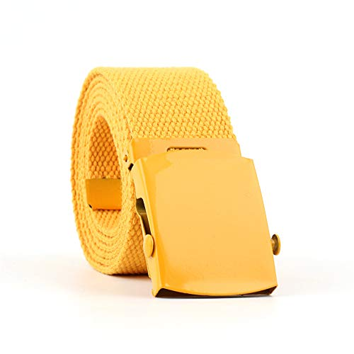 Womens Canvas Belts Nylon Military Tactical Wrap Belt With Medal Buckle Candy color (130CM, yellow)