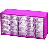 livinbox パーツキャビネット 工具箱 小物や雑貨収納 多目的収納 20引き出し-ピンク