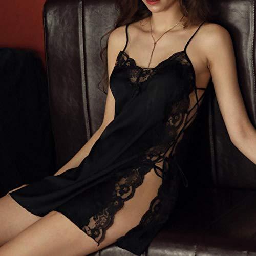 QVC Schlafanzug für Damen, Spitze, bestickt, Seide, Nachtwäsche, sexy, verband Gr. Large, Schwarz